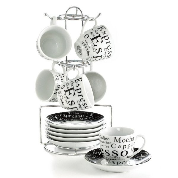 Gibson 13-piece Modern Porcelain Espresso Set with Stand 15517931
