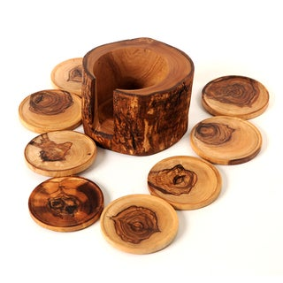 Handmade Olive Wood Rustic Coaster Set of 8 and Holder