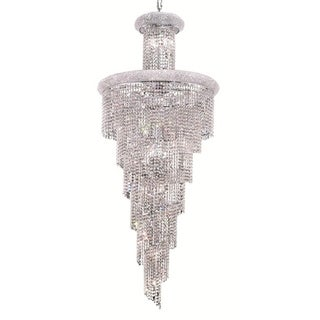 Elegant Lighting Chrome 30-inch Crystal Clear Royal Cut Large Hanging Fixture