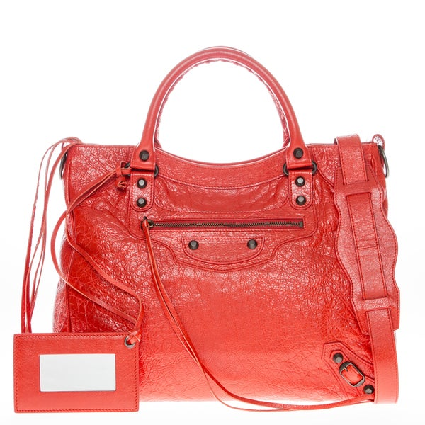Balenciaga Leather Orange/ Red Classic Velo Satchel
