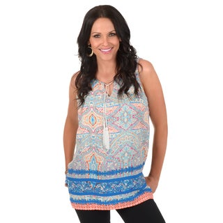 Timeless Comfort by Journee Women's Printed Sleeveless Tunic Top
