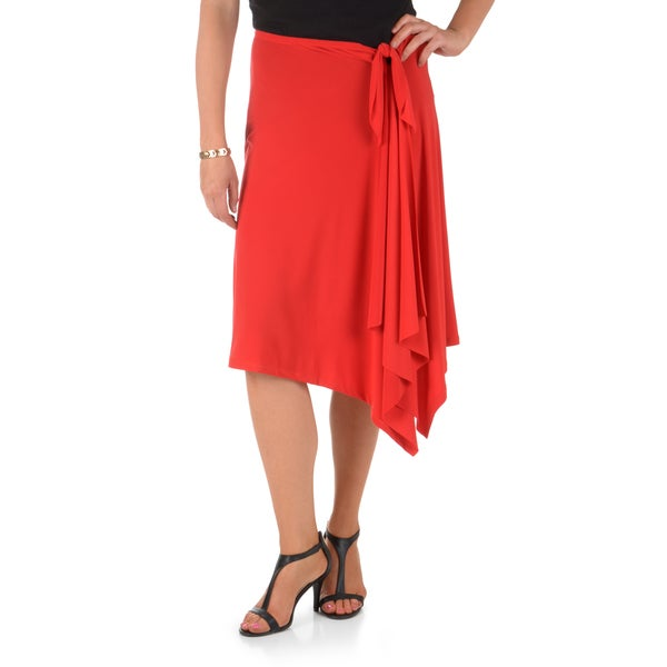 Timeless Comfort by Journee Women's Elastic Waist Ruffled Wrap Skirt