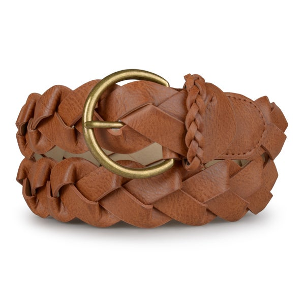 Journee Collection Women's Braided Faux Leather Belt