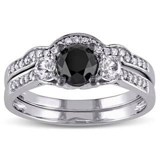 Miadora 10k White Gold Created White Sapphire and 7/8ct Black and White Diamond Bridal Ring Set (G-H, I2-I3)