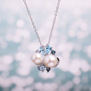 Miadora Sterling Silver Cultured Freshwater Pearl, Blue Topaz and Created White Sapphire Necklace (6.5-8 mm)
