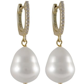Sterling Silver White Pear-shaped Shell Pearl and Cubic Zirconia Dangle Earrings