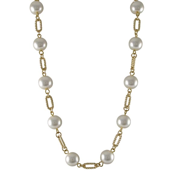 Luxiro Gold Finish White Faux Pearl Link Necklace 15518649