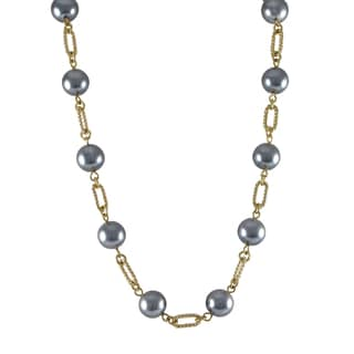 Luxiro Gold Finish Grey Faux Pearl Link Necklace