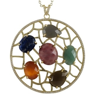 Sterling Silver Gold Finish Cubic Zirconia and Gemstone Circle Pendant Necklace