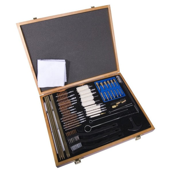 Gunmaster Univ Select 63 Pc Gun Cleaning Kit Wood Case