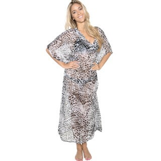 La Leela Women's Chiffon Grey Animal Printed Sheer Long Beach Cover-up/ Kaftan