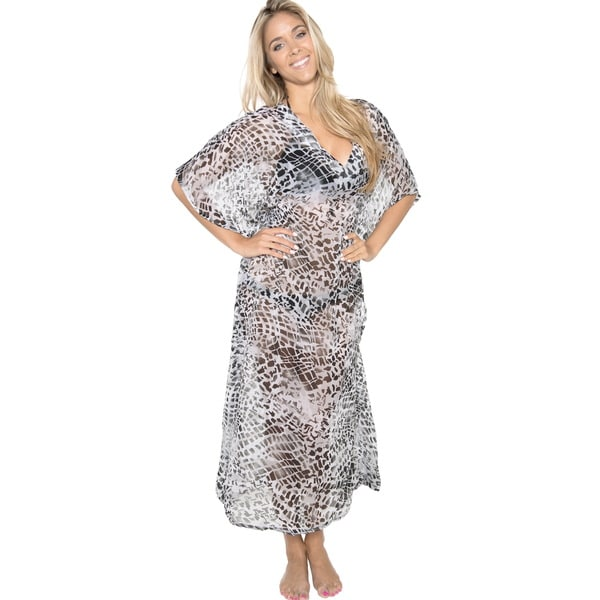 La Leela Women's Chiffon Grey Animal Printed Sheer Long Beach Cover-up