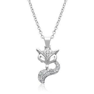 Adoriana Silver Crystal Fox Necklace