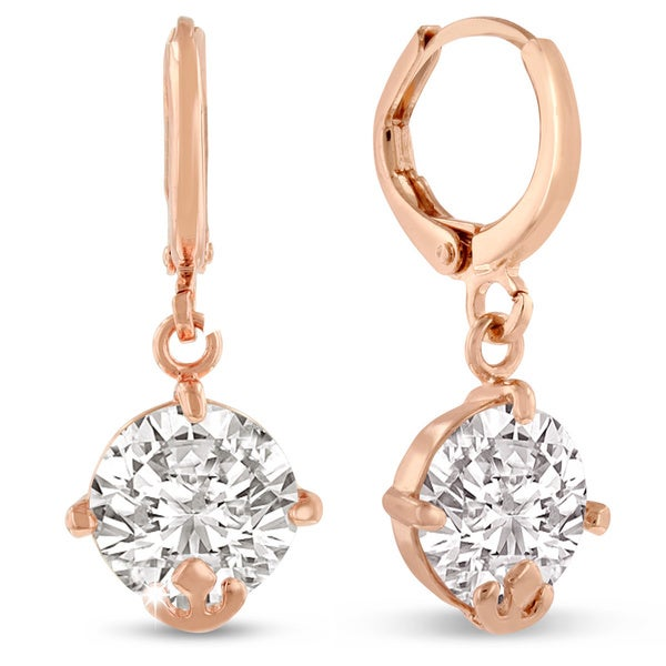 Adoriana Rose Gold Austrian Crystal Elements Drop Hoop Earrings