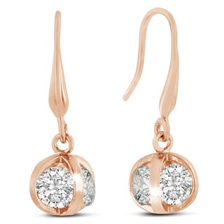 Adoriana Rose Gold Austrian Crystal Elements Basket Dangle Earrings