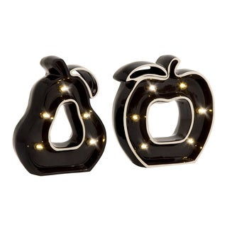 Ceramic LED Apple and Pear Marquee (Set of 2)