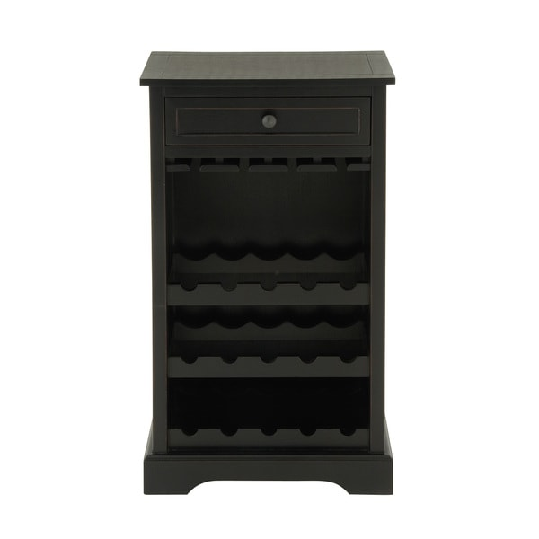 34-inch Black Wooden Wine Cabinet