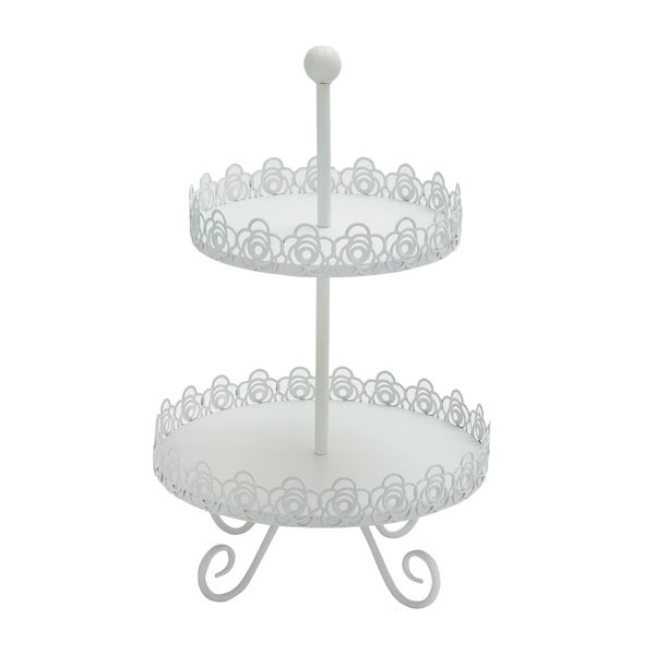 White Metal 2-tier Stand