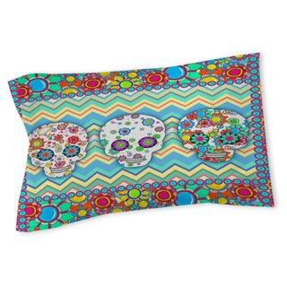 Thumbprintz Sugar Skull Chevron Box Sham