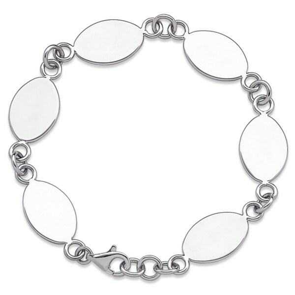Sterling Silver Polished Oval Bracelet
