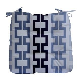 Geometric Greek Key Print Outdoor Seat Cushion