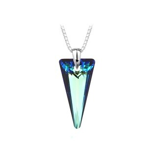 Sterling Silver Austrian Crystal Bermuda Blue Spike Necklace