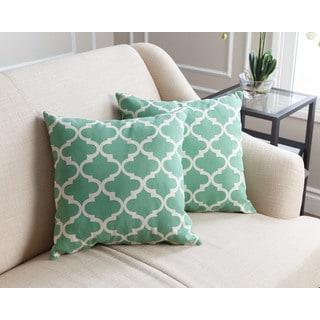 Abbyson Living Aubrey Pillow Collection 18-inch Green Lattice Throw Pillows (Set of 2)