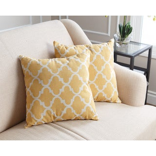 Abbyson Living Aubrey Pillow Collection 18-inch Yellow Lattice Throw Pillows (Set of 2)