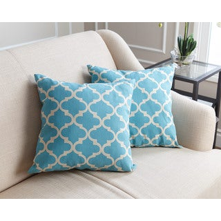 Abbyson Living Aubrey Pillow Collection 18-inch Light Blue Lattice Throw Pillows (Set of 2)