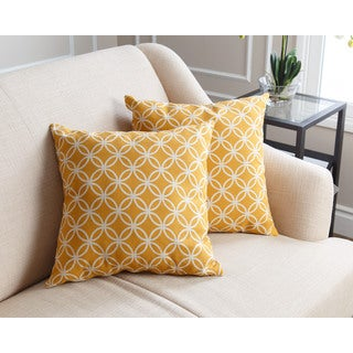 Abbyson Living Cole Pillow Collection 18-inch Yellow Swirls Throw Pillows (Set of 2)