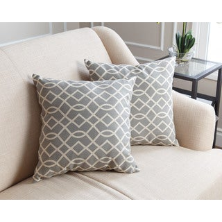 Abbyson Living Suzanna PillowCollection 18-inch Grey Swirls Throw Pillows (Set of 2)