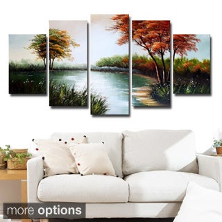 Design Art 'Trees and Pond' Forest Oil Painting
