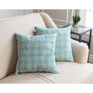 Abbyson Living Avery Pillow Collection 18-inch Teal Pattern Throw Pillows (Set of 2)