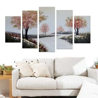 Design Art 'Red Trees on a White Path' Forest Oil Painting