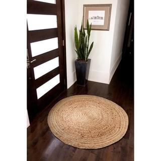 Kerala Natural Jute Handwoven Rug (4' Round)