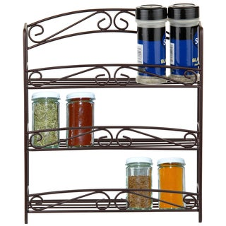 3-tier Bronze Spice Rack with Classic Scroll Design