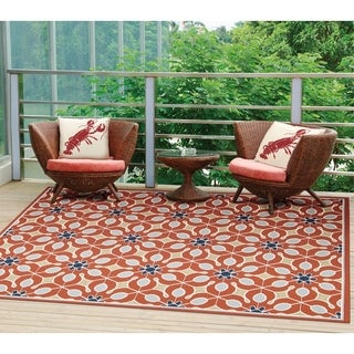 Nourison Caribbean Indoor/Outdoor Rust Rug (9'3 x 12'9)