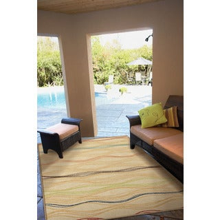 """Indoor/ Outdoor Veranda Louvre White Area Rug (3'10"""" x 5'5"""")"""