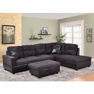 Delima 3-pc Black Microsuede and Faux Leather Sectional set with Storage Ottoman and 2 pillows