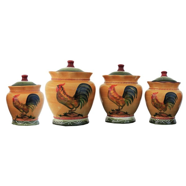 ceramic rooster shaped canister submited images french country set of 3 rooster storage canisters
