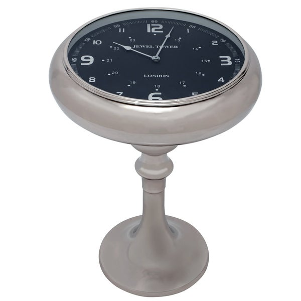 Stainless Steel Pedestal Clock End/ Accent Table