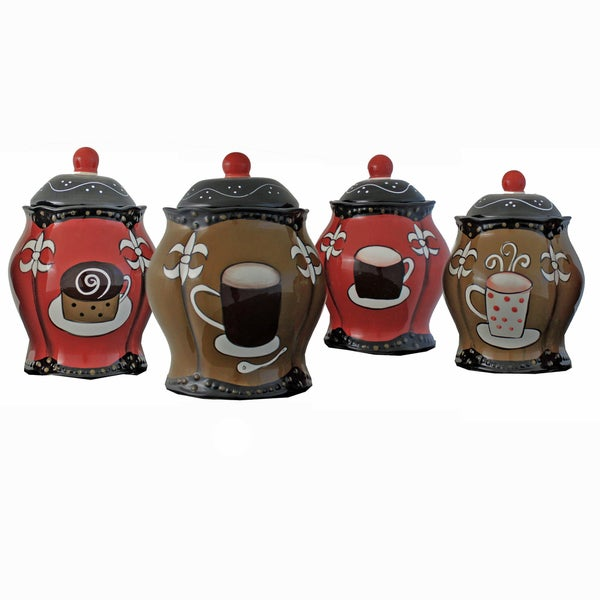 Cafe Hand-painted Food Storage Canister 4-piece Set