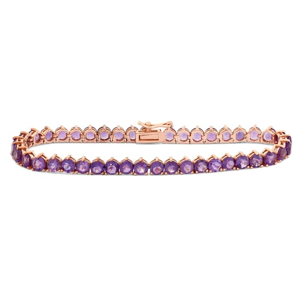 Gioelli Rose Gold Plated Silver Round 4mm Amethyst Bracelet