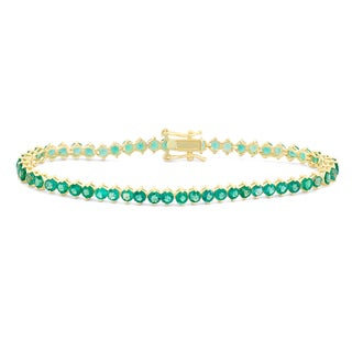 Gioelli Goldplated Round 3mm Created Emerald Bracelet