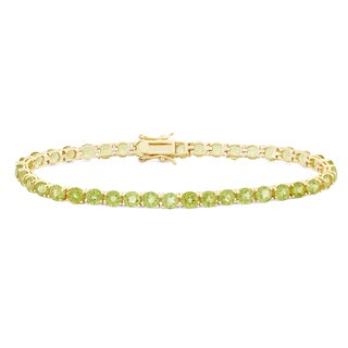 Gioelli Goldplated 4mm Prong Peridot Bracelet