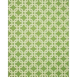 Green Handmade Dhurrie Wool Rug (8'9 x 11'9)