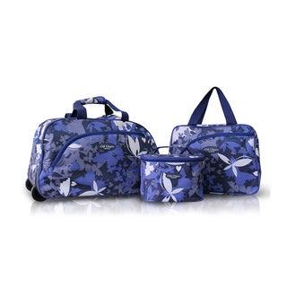 Jacki Design Blue 3-piece Rolling Travel Bag and Cosmetic Bag Set