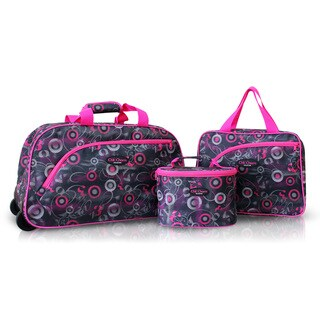 Jacki Design Pink 3-piece Rolling Travel Bag and Cosmetic Bag Set