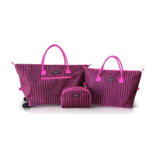 Jacki Design 3-piece Rolling Tote Bag and Cosmetic Bag Set
