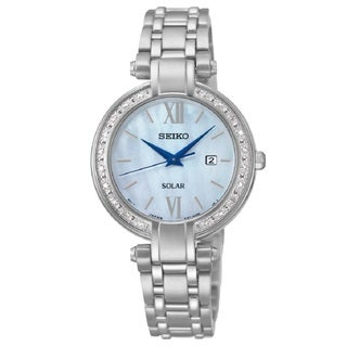Seiko Women's SUT080 Stainless Steel and 20 Diamonds Solar Watch